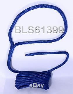 (8) BLUE Boat Dock Lines 1/2 Double Braid Marine Rope (4) Each 15' & 20' feet