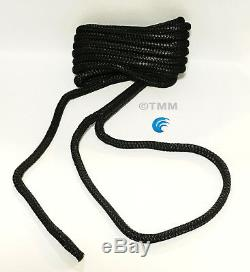 (8) Black Double Braided 1/2 x 15' ft Boat Marine HQ Dock Lines Mooring Ropes