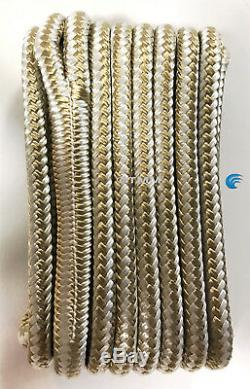(8) Gold/White Double Braided 1/2 x 15' HQ Boat Marine DOCK LINES Mooring Ropes