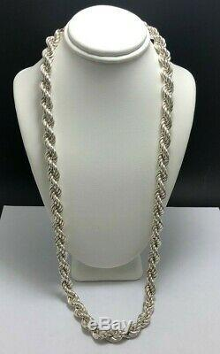 925 Sterling Silver Double Twist Thick 8mm Rope 22 Necklace E969