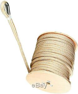Amarine Made Double Braid Nylon Anchor Line Rope &Stainless Thimble, White/Gold