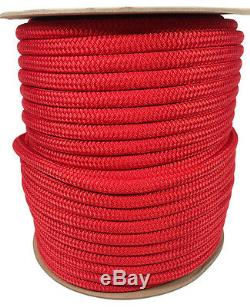 Anchor Rope Dock Line 1/2 X 400' Double Braided 100% Nylon Red Made In USA