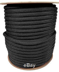 Anchor Rope Dock Line 5/8 X 100' Double Braided 100% Nylon Black Made In USA