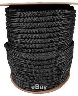 Anchor Rope Dock Line 5/8 X 200' Double Braided 100% Nylon Black Made In USA