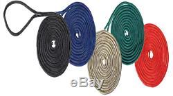 Boat Dock Lines 4 Black 5/8 x 25 Double Braid Nylon Premier Mooring Marine Rope