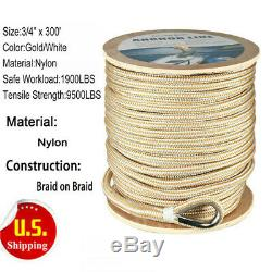 Boat Double Braid Nylon Anchor Line with Stainless Thimble-White/Gold, 3/4x 300