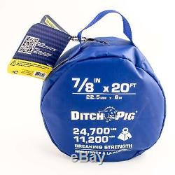 DitchPig 447521 Kinetic Energy Vehicle Recovery Double Nylon Braided Rope, 7/8