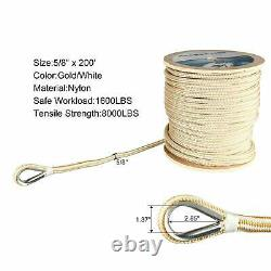 Double Braid Nylon Anchor Line 5/8 x 200' Dock Line Rope with Stainless Thimble