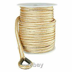 Double Braid Nylon Dock Line Rope Anchor Line with Stainless Thimble White/Gold