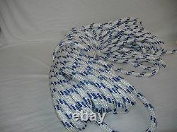 Double Braid Polyester 3/4 x150 feet arborist rigging tree bull rope white blue