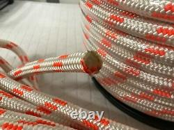 Double Braid Polyester 5/8x150 feet arborist rigging tree bull rope white/orang