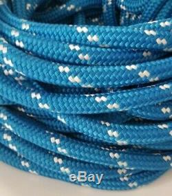 Double Braid Rope Line 5/8 X 112' Blue / White 100% NYLON MADE IN USA