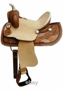 Double T 12 Youth ROPER SADDLE Hard Seat SQHB Braided Horn Rough Out Fenders