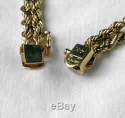 Exc Quality Vintage 14K Gold Diamond Fancy Double Rope Braided Bracelet 713.2g