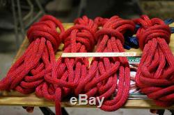Four West Marine Double Braided Nylon Dock Lines with cleat eye, 3/4 35ft red