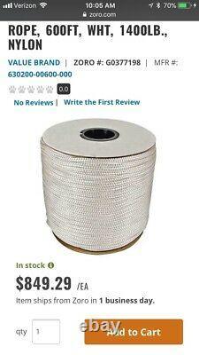 GRAINGER Rope, 600ft, Wht, 1400lb, Nylon, 630200-00600-000, White
