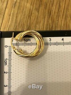 Gorgeous Double Hoop rope twist Hallmarked Yellow Gold 9ct Earrings 2.58g