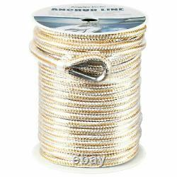Heavy Duty Double Braid Nylon Rope Anchor Line with Stainless Thimble-White/Gold