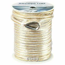 Heavy Duty Double Braid Nylon Rope Boat Dock Anchor Line with Stainless Thimble