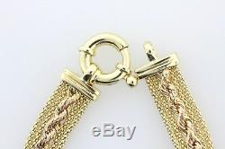 Italy 14K Yellow and Rose Gold Rope Double Fused Mesh Style 9MM Bracelet 7.5