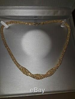 Italy Double Row Braided Rope Chain Necklace 14k Yellow Gold 18 10 grams scrap