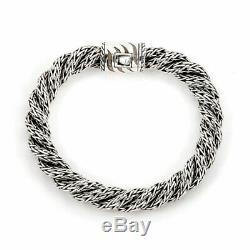 John Hardy Sterling Silver Double Twist Woven Rope 9mm Thick Bracelet