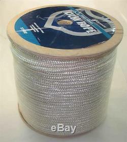 Marine Grade Double Braided Nylon Rope 3/8 x 600 ft White Braid 22907