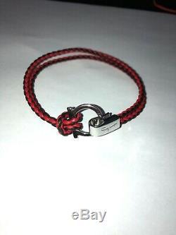 Mens Salvatore Ferragamo GANCINI BRACELET SIZE M Silver Black & Red Leather