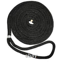 New England Ropes 3/4 X 25' Nylon Double Braid Dock Line Black