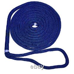 New England Ropes 5/8 X 50' Nylon Double Braid Dock Line Blue with Tracer