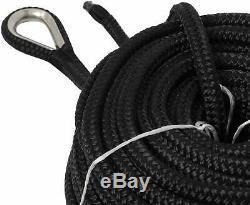 NovelBee 1/2 x 600' Black Double Braid Nylon Anchor Rope Dock Line with Thimble