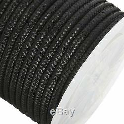 NovelBee 5/8 x 200' Black Double Braid Nylon Anchor Rope Dock Line with Thimble