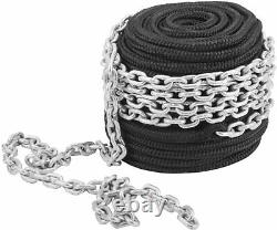 NovelBee 9/16 In 150 Ft Double Braid Nylon Rope with 5/16 Inch x 20 Feet Chain