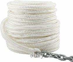 NovelBee 9/16 Inch 200 Feet Double Braid Nylon Rope with 5/16 In x 20 Ft Chain