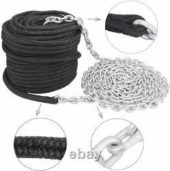 NovelBee 9/16200' Double Braid Nylon Black Rope + 5/1620' Galvanized Chain