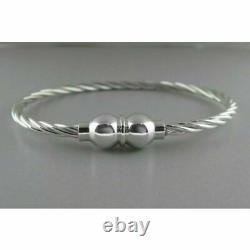 RARE Rope Twist Cape Cod Double Ball Bangle 7.5 Bracelet in 18K White Gold Over