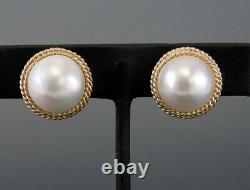 Retro Style 14K Yellow Gold Double Twist Rope Mabe Pearl Clip Earrings 28.3mm