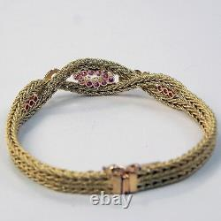 Ruby Flexible Wheat Braid Double Rope Bracelet 18 kt Yellow Gold 7 1/4 A7647