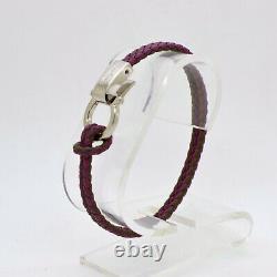 SALVATORE FERRAGAMO Woven Purple Green Braided Double Wrap Leather Rope Bracelet
