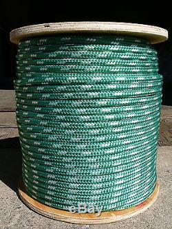 Sailboat Rigging Rope 3/8 x 150' Green/White Double Braided Sheet Halyard Line