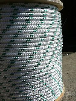 Sailboat Rigging Rope 3/8 x 179' White/Green Double Braided Sheet Halyard Line