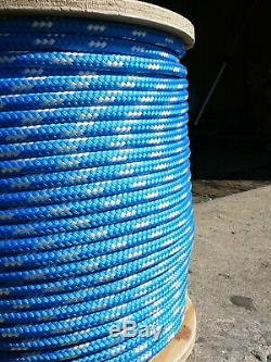 Sailboat Rigging Rope 3/8 x 200' Blue/White Double Braided Sheet Halyard Line