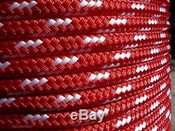 Sailboat Rigging Rope 3/8 x 200' Red/White Double Braided Sheet Halyard Line