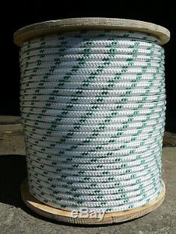 Sailboat Rigging Rope 3/8 x 200' White/Green Double Braided Sheet Halyard Line