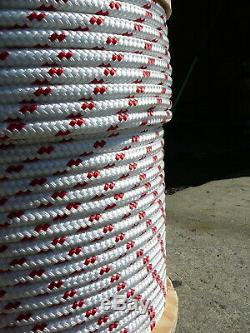Sailboat Rigging Rope 3/8 x 200' White/Red Double Braided Sheet Halyard Line