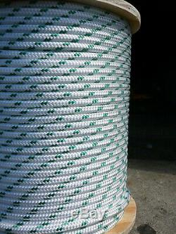Sailboat Rigging Rope 5/16 x 200' White/Green Double Braided Sheet Halyard Line
