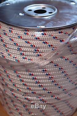 Sailboat Rigging Rope 7/16 X 200' Double Braid Polyester Red/blue Tracer