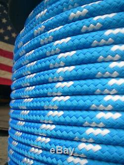 Sailboat Rigging Rope 7/16 x 200' Blue/White Double Braided Sheet Halyard Line