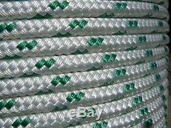 Sailboat Rigging Rope 7/16 x 200' White/Green Double Braided Sheet Halyard Line