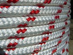 Sailboat Rigging Rope 7/16 x 200' White/Red Double Braided Sheet Halyard Line